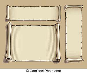 karikatúra, bevésett, cikornyázik, három