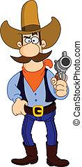 karikatúra, cowboy