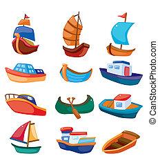 karikatúra, csónakázik, ikon