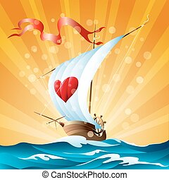karikatúra, csónakázik