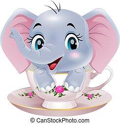 karikatúra, csinos, elefánt, ülés, csésze, csecsemő