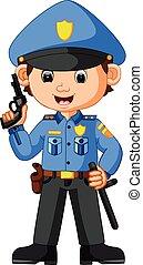 karikatúra, csinos, rendőr