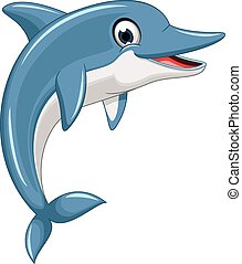 karikatúra, delfin, csinos