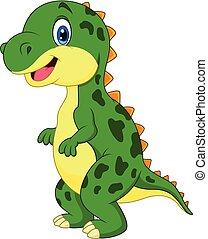 karikatúra, dinoszaurusz, 254, zöld