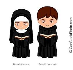 karikatúra, -eik, bencés, biblia, apáca, woman., szerzetes, birtok, ember, hands., character., catholics., vallásos