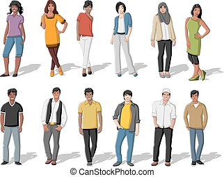 karikatúra, emberek, fiatal