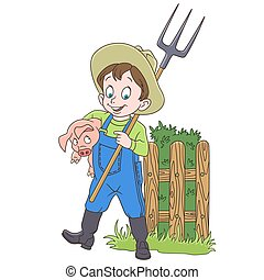 karikatúra, farmer, disznó