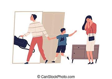 karikatúra, felügyelet, anya, feleség, lakás, white., atya, elszigetelt, férj, ábra, kiáltás, probléma, relationship., gyermek, feláll., család, elválás, színhely, dispute., son., vektor, kilépő, szünet