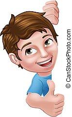 karikatúra, fiú gyermekek, aláír, feláll, lapozgat, kölyök
