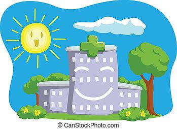 karikatúra, furcsa, épület, kórház