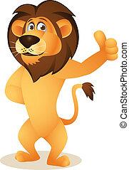 karikatúra, furcsa, oroszlán