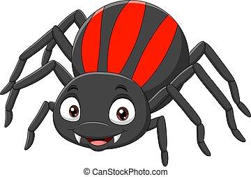 karikatúra, furcsa, pók, háttér, fehér