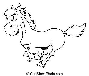 karikatúra, futás, ló, körvonalazott