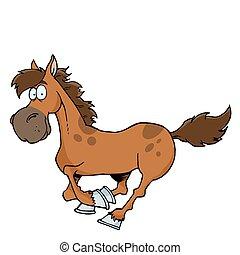karikatúra, futás, ló