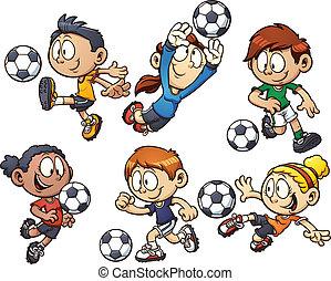 karikatúra, futball, gyerekek