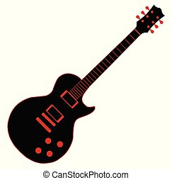 karikatúra, gitár, fekete