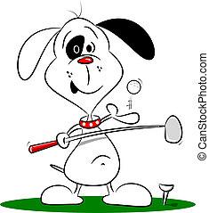 karikatúra, golf, játék