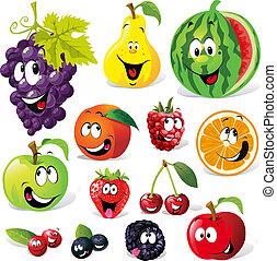karikatúra, gyümölcs, furcsa