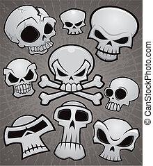 karikatúra, gyűjtés, koponya