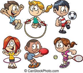 karikatúra, gyerekek, játék