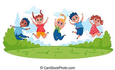 karikatúra, gyerekek, meadow., móka, birtoklás, kívül, ugrás, külső, fiú, ábra, gyerekek, elfoglaltság, boldog, vektor, együtt., summer., játék, lány