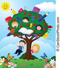 karikatúra, gyermekek játék, appl