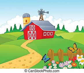 karikatúra, háttér, tanya