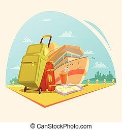 karikatúra, hajóút, fogalom