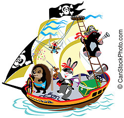 karikatúra, hajó, kalóz