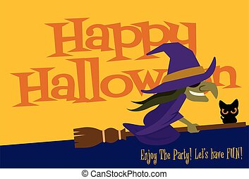 karikatúra, halloween., mindenszentek napjának előestéje, boldog, nagy, boszorkány, felirat, repülés, cégtábla, seprű