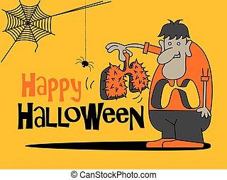 karikatúra, halloween., mindenszentek napjának előestéje, boldog, thorns., tüdő, nagy, birtok, felirat, szörny
