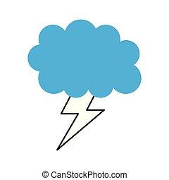 karikatúra, időjárás, csavar, felhő, villámlás