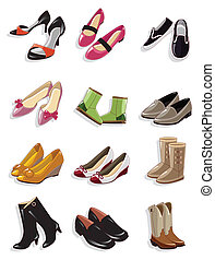 karikatúra, ikon, cipők