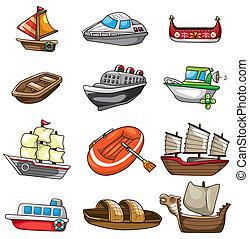 karikatúra, ikon, csónakázik