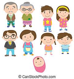 karikatúra, ikon, család