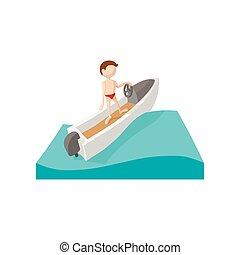 karikatúra, ikon, fut hajózik