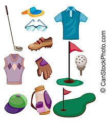 karikatúra, ikon, golf