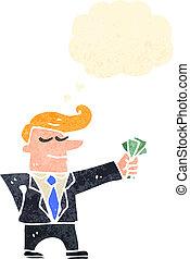 karikatúra, illeszt, készpénz, ember, retro