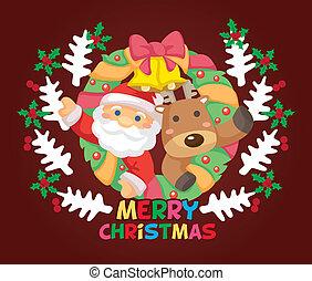 karikatúra, kártya, karácsony