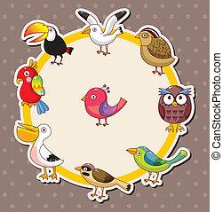 karikatúra, kártya, madár