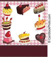karikatúra, kártya, torta