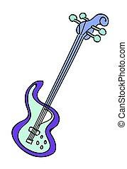 karikatúra, kép, elektromos gitár