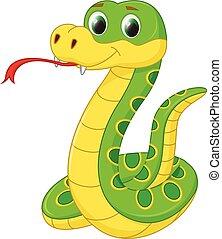 karikatúra, kígyó, csinos