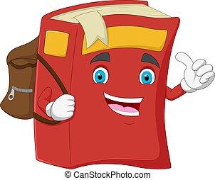 karikatúra, könyv, boldog, odaad, lapozgat feláll