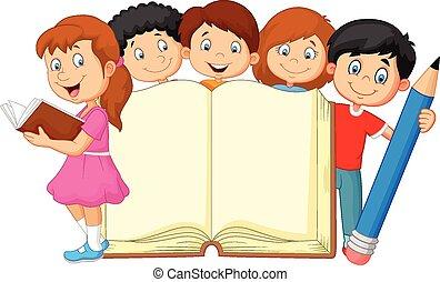 karikatúra, könyv, ceruza, gyerekek