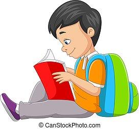 karikatúra, könyv, fiú, kevés, felolvasás