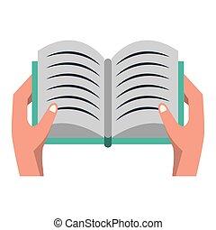 karikatúra, könyv, nyílik, elszigetelt, kéz