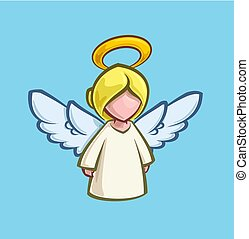 karikatúra, -, karácsony, angyal, ikon