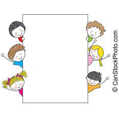 karikatúra, keret, gyerekek, csinos