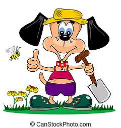 karikatúra, kutya, kertészkedés